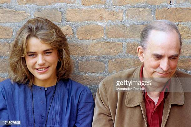 Swedish director Ingmar Bergman smiling with Swedish actress Ewa Froling who played in the film Fanny and Alexander 1980s