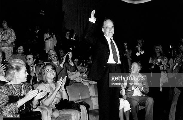 Swedish director Ingmar Bergman thanking for the applauses after the showing of the film Fanny and Alexander winner of the FIPRESCI award at the 40th...
