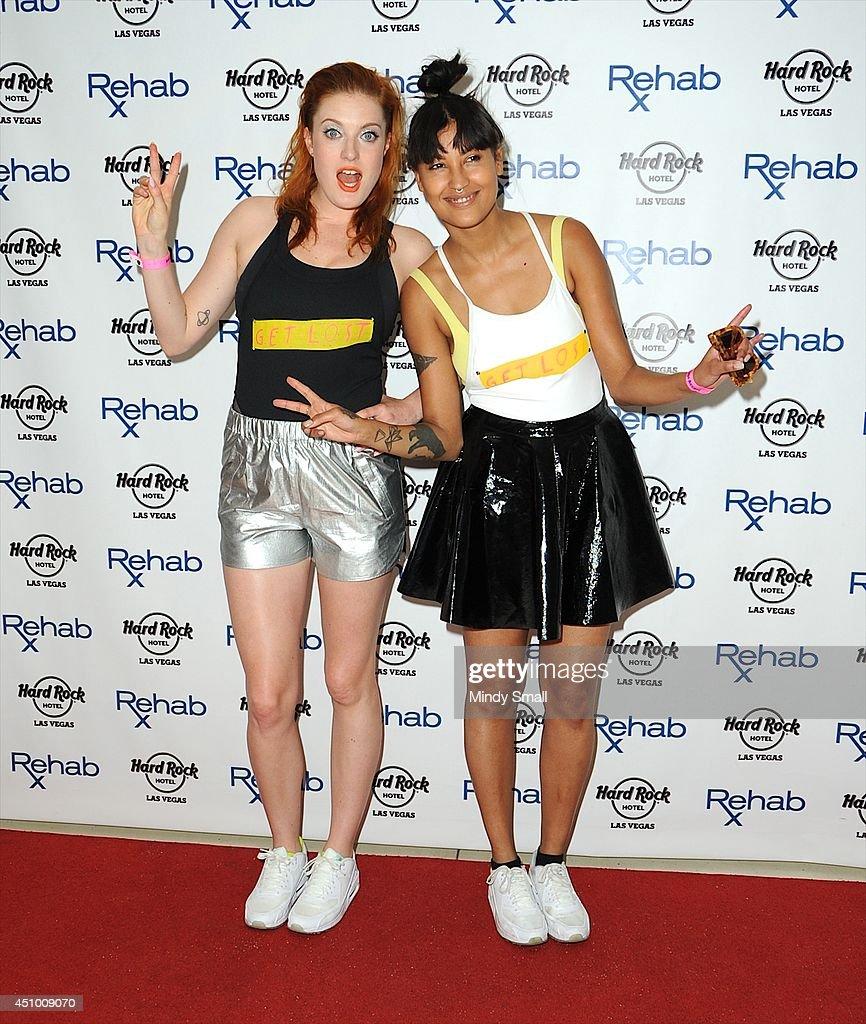 Swedish DJ duo Icona Pop's Caroline Hjelt and Aino Jawo arrive at Rehab at the Hard Rock Hotel Casino on June 21 2014 in Las Vegas Nevada