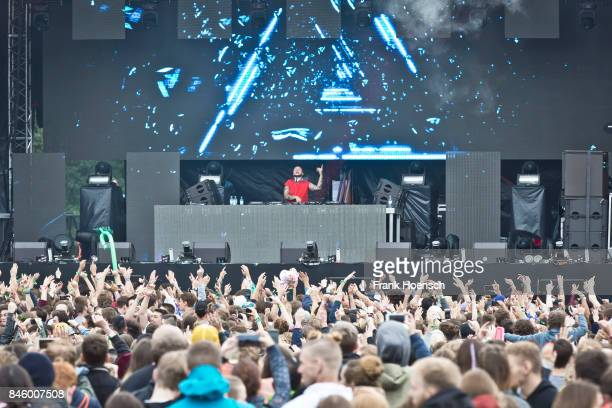 Swedish DJ Mikael Persson aka Mike Perry performs live on stage during first day at the Lollapalooza Festival on September 9 2017 in...