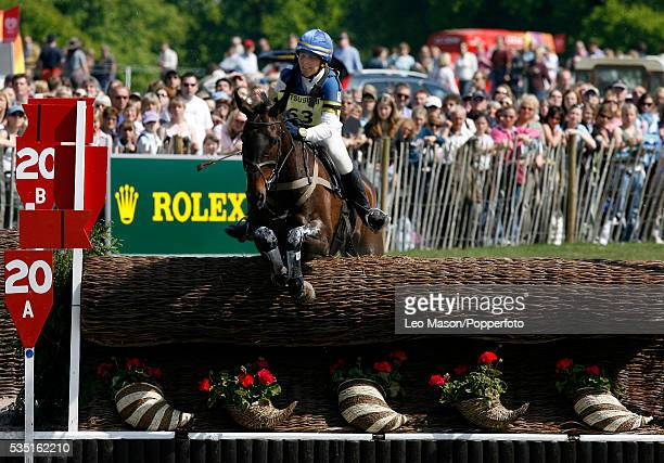 Swedish equestrian Anna Hilton competes on Mr Dalby during the Cross Country Test at The Lake Complex at the 2007 Mitsubishi Motors Badminton Horse...