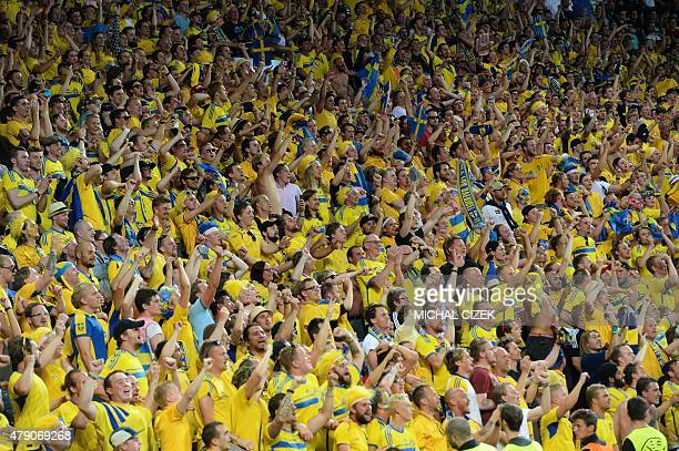 Swedish fans celebrate after the UEFA Under 21 European Championship 2015 final football match between Sweden and Portugal in Prague on June 30 2015...