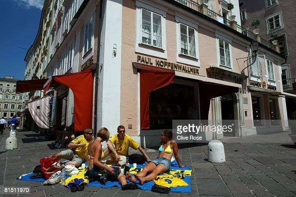 Swedish fans enjoy the atmosphere in the city ahead of the UEFA EURO 2008 Group D match between Greece and Sweden at Stadion WalsSiezenheim on June...