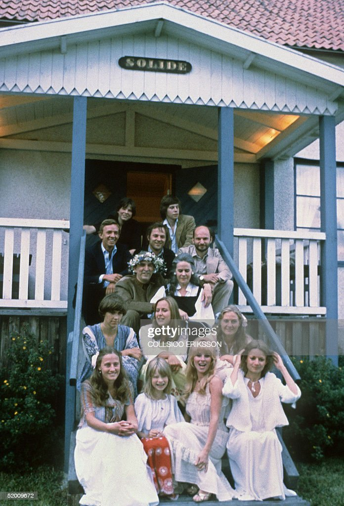 Swedish filmmaking legend Ingmar Bergman and his wife Ingrid smile to their friends 14 July 1978 in their house on the Baltic Sea island of Faro...