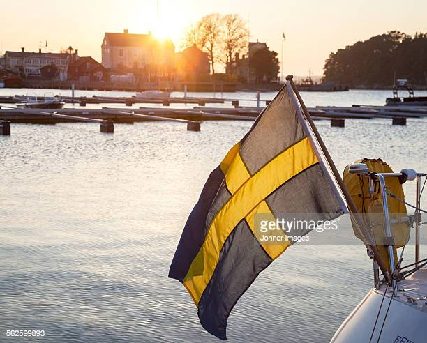 Swedish flag on boat