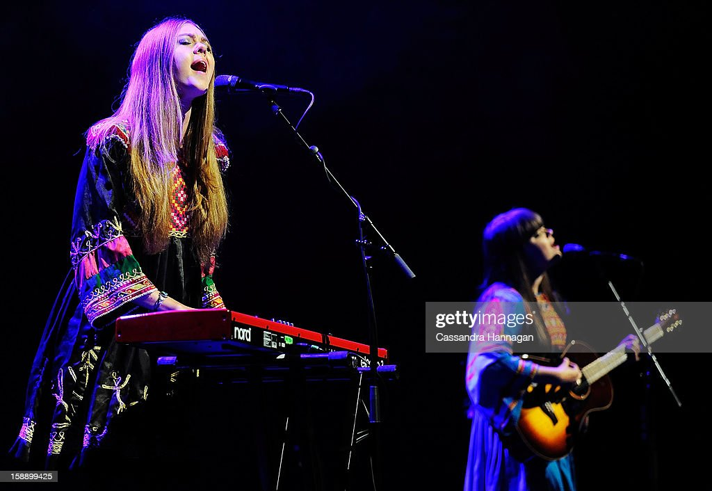Swedish folk duo Klara Soderberg and Johanna Soderberg of First Aid Kit perform for fans at Sydney Opera House on January 3, 2013 in Sydney, Australia.