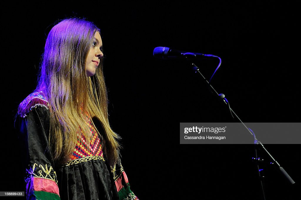 Swedish folk duo Klara Soderberg (not pictured) and Johanna Soderberg of First Aid Kit perform for fans at Sydney Opera House on January 3, 2013 in Sydney, Australia.