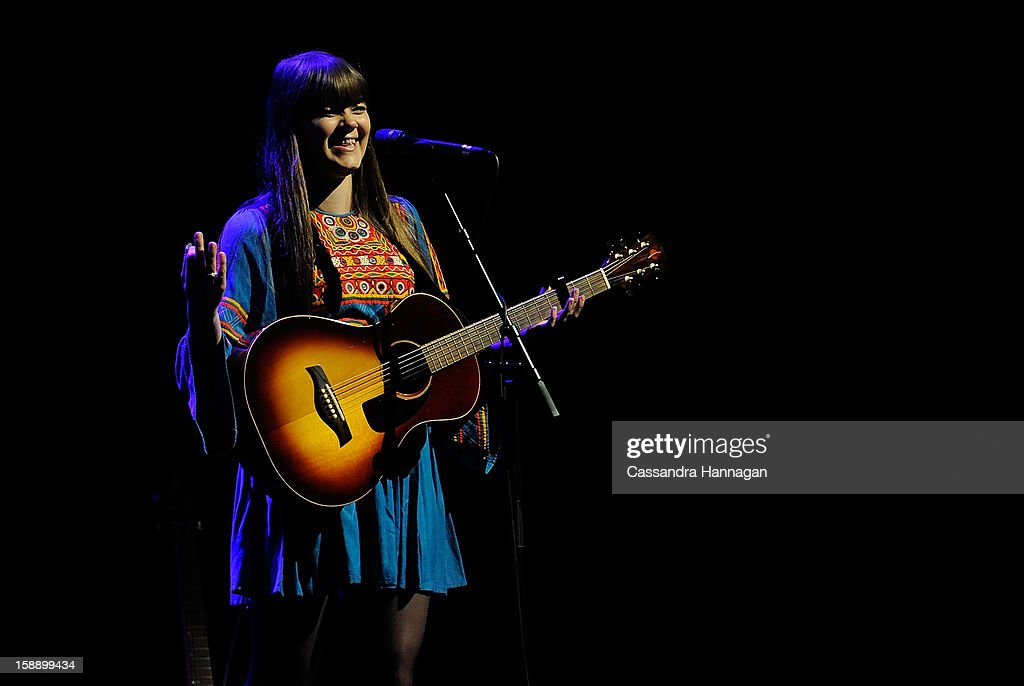 Swedish folk duo Klara Soderberg and Johanna Soderberg (not pictured) of First Aid Kit perform for fans at Sydney Opera House on January 3, 2013 in Sydney, Australia.