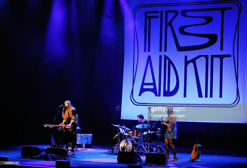 Swedish folk duo Klara Soderberg (R) and Johanna Soderberg of First Aid Kit perform for fans at Sydney Opera House on January 3, 2013 in Sydney, Australia.