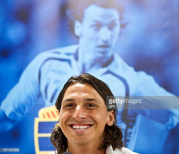 Swedish football player Zlatan Ibrahimovic attends a press conference in Malmo on July 16 2010 Zlatan Ibrahimovic confirmed that he will return to...