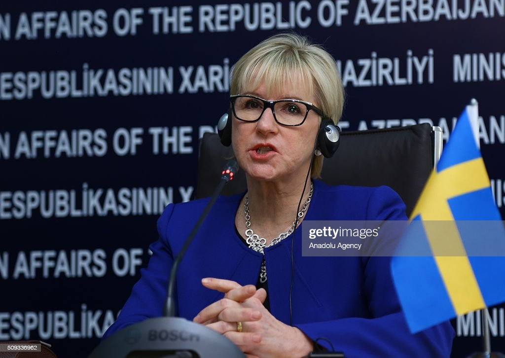 Swedish Foreign Minister Margot Wallstrom (L) and Azerbaijani Foreign Minister Elmar Memmedyarov (not seen) hold a joint press conference after an inter-delegations meeting in Baku, Azerbaijan on February 10, 2016.