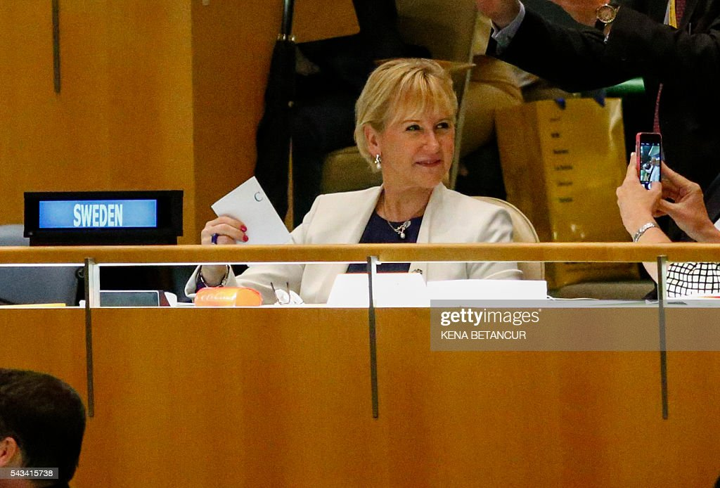 Swedish foreign minister Margot Wallstrom waits to cast her vote during the election of five non-permanent members of the Security Council at the General Assembly Hall at the United Nations in New York on June 28 2016. Three European countries and two Asian nations are battling for seats on the UN Security Council in elections that are drawing attention to the refugee crisis and human rights. / AFP / KENA
