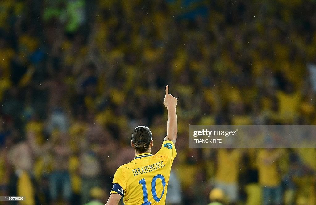 Swedish forward Zlatan Ibrahimovic celebrates after a goal during the Euro 2012 football championships match Sweden vs France on June 19, 2012 at the Olympic Stadium in Kiev.