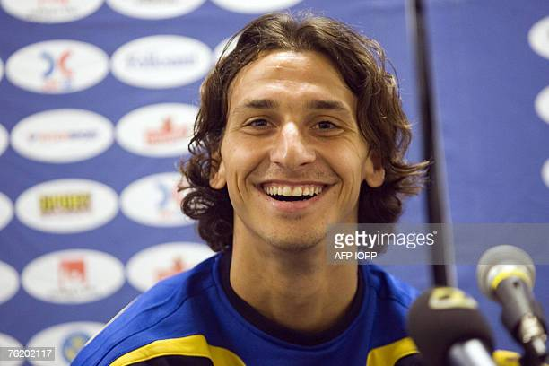 Swedish forward Zlatan Ibrahimovic of Inter Milan smiles during a press conference in Gothenburg Sweden 21 August 2007 in connection to training...