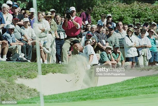 Swedish golfer Jesper Parnevik pictured in action chipping his ball out of a sand trap during play for Team Europe to lose to Team USA in the 1999...