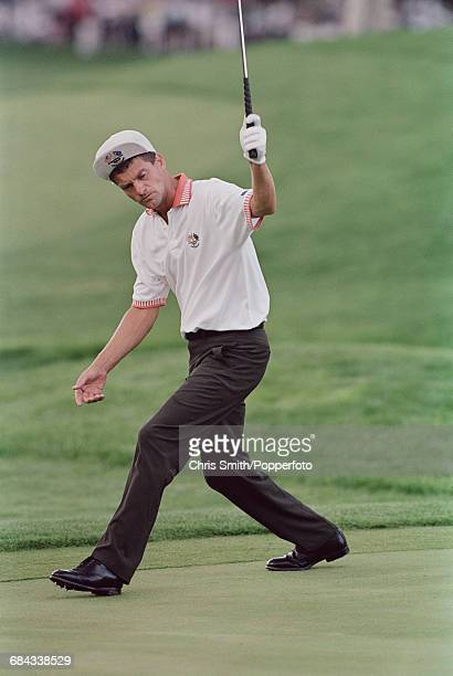 Swedish golfer Jesper Parnevik pictured in action for Team Europe during play to lose to Team USA in the 1999 Ryder Cup 145 135 at The Country Club...