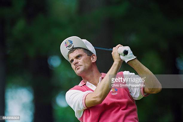 Swedish golfer Jesper Parnevik pictured in action using a driver to play a shot for Team Europe during play to lose to Team USA in the 1999 Ryder Cup...