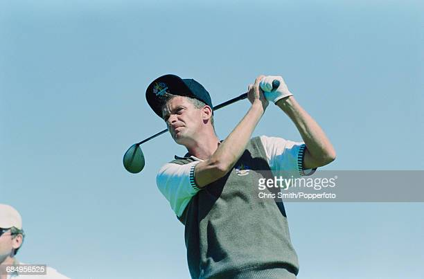 Swedish golfer Jesper Parnevik pictured in action using a driver to tee off for Team Europe during play to lose to Team USA in the 1999 Ryder Cup 145...