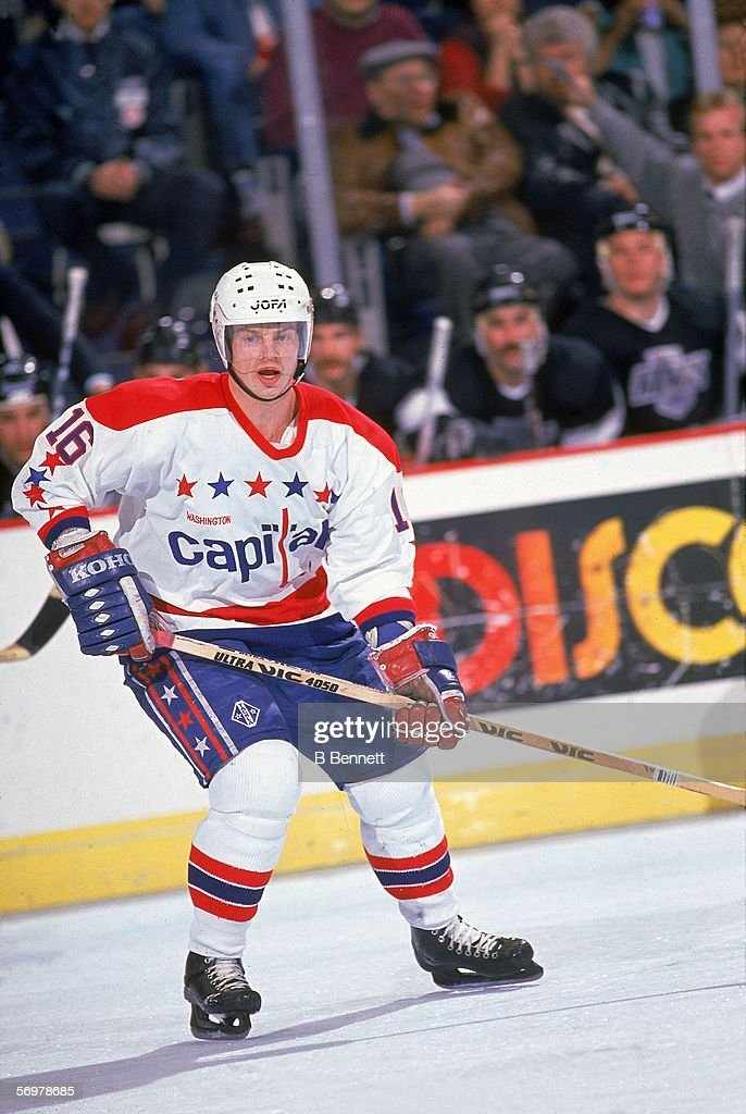 Swedish hockey player Bengt Gustafsson of the Washington Capitals on the ice during a home game against the Los Angerles Kings Landover Maryland...