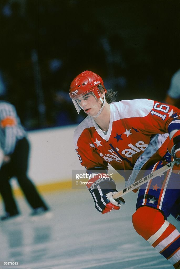 Swedish hockey player Bengt Gustafsson of the Washington Capitals on the ice during a road game January 1985
