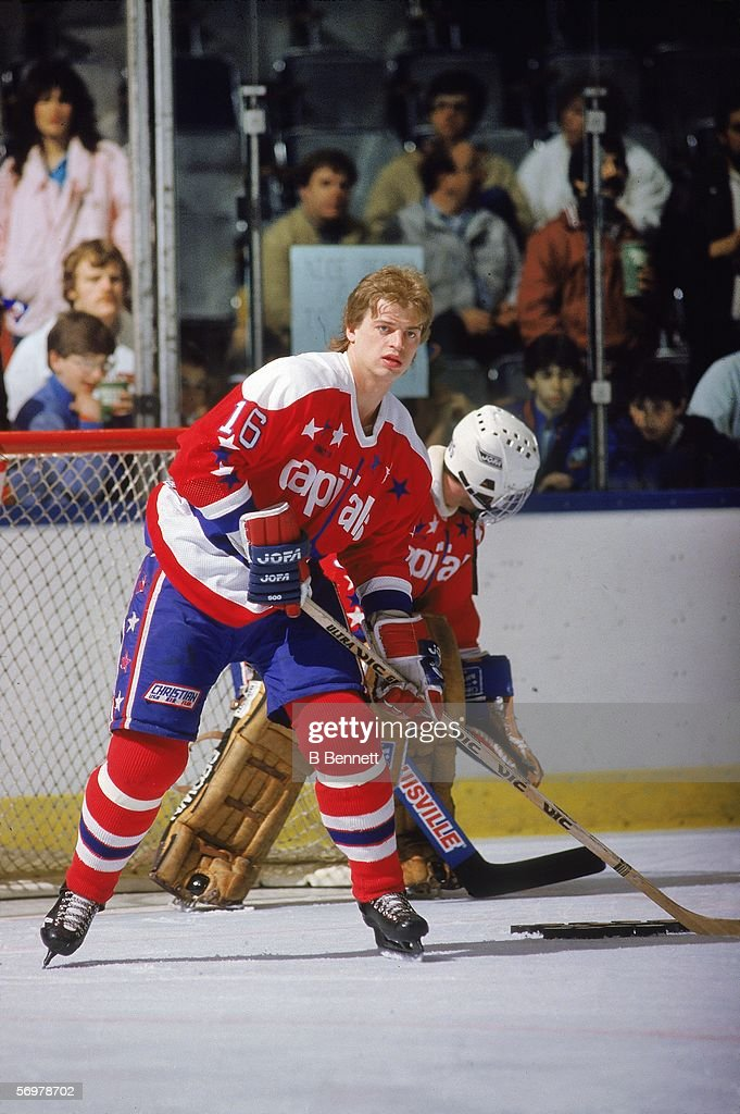Swedish hockey player Bengt Gustafsson of the Washington Capitals on the ice during pre game warmups at Nassau Coliseum Uniondale New York April 1985