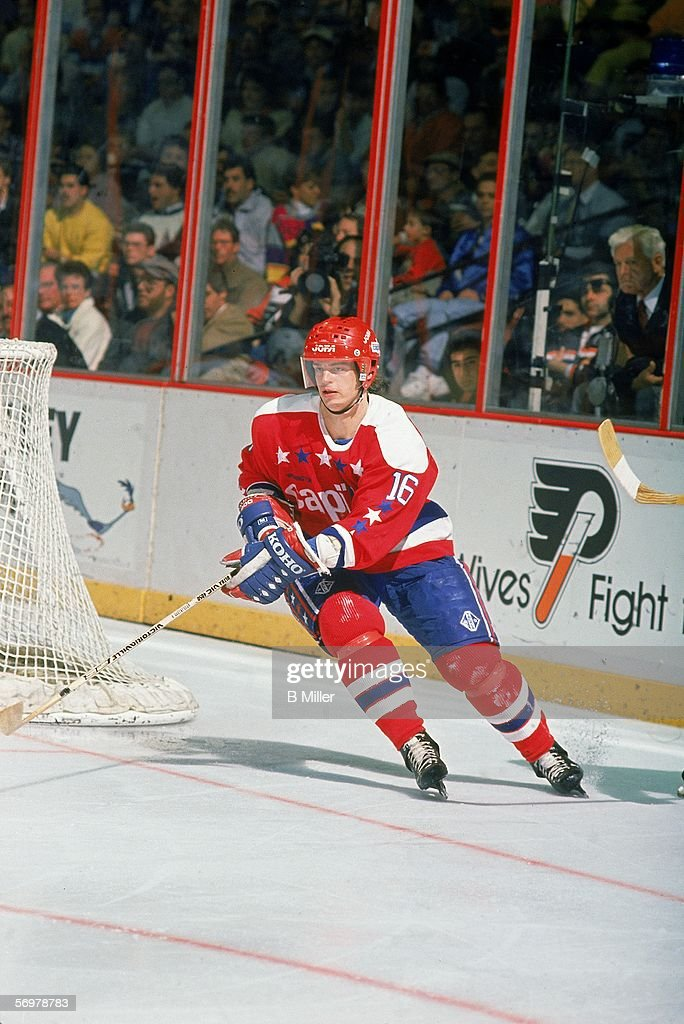 Swedish hockey player Bengt Gustafsson of the Washington Capitals on the ice during a road game at the Spectrum Philadelphia Pennsylvania December...