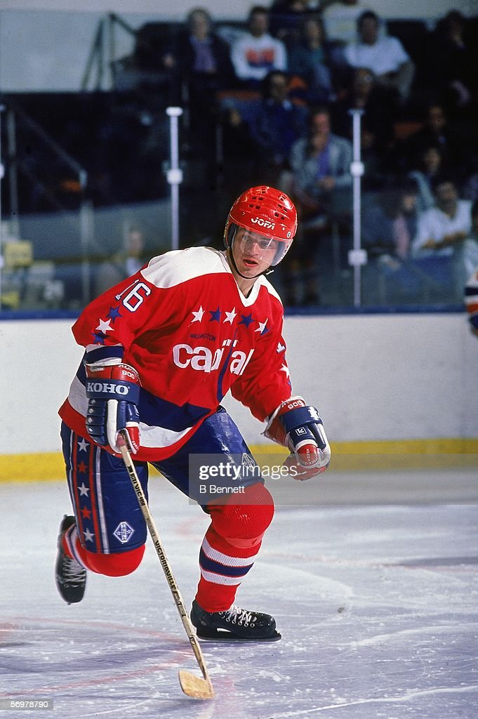 Swedish hockey player Bengt Gustafsson of the Washington Capitals on the ice during a road game at Nassau Coliseum Uniondale New York November 1988