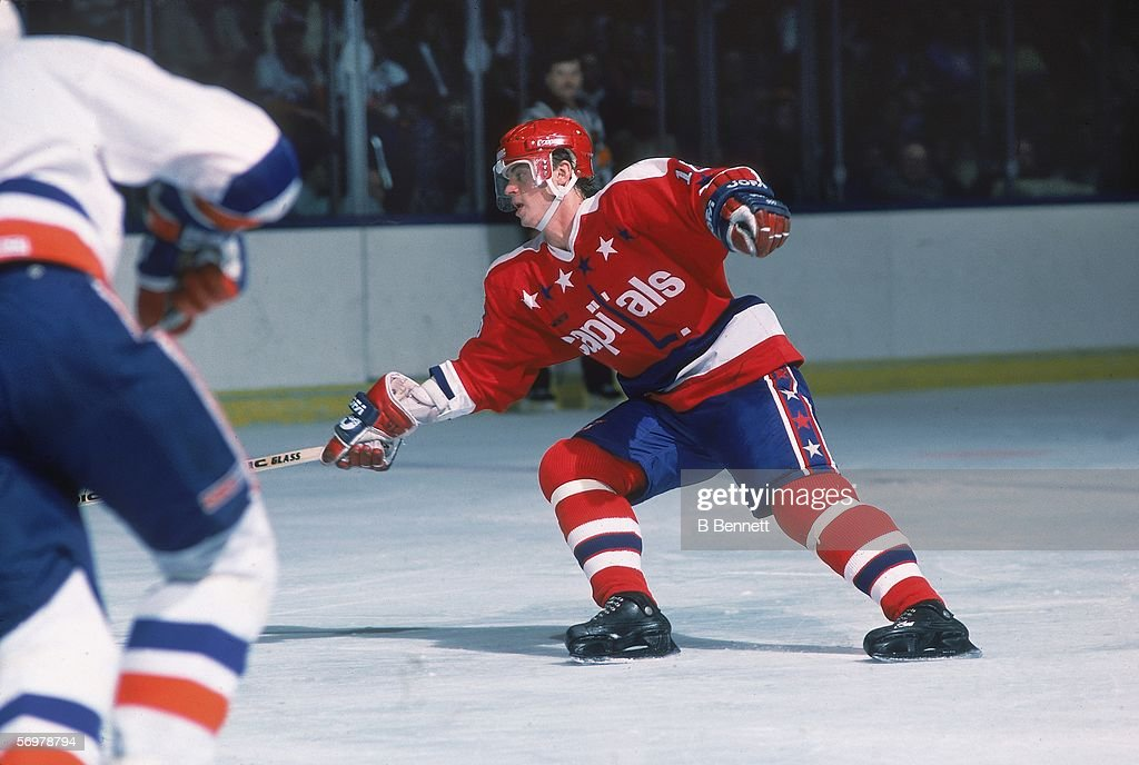 Swedish hockey player Bengt Gustafsson of the Washington Capitals on the ice during a raod game against the New York Islanders at Nassau Coliseum...