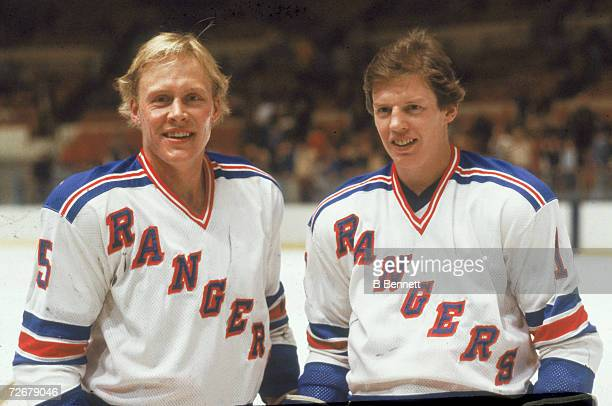 Swedish hockey players and teammates Anders Hedberg and Ulf Nilsson of the New York Rangers pose together on the ice late 1970s or early 1980s