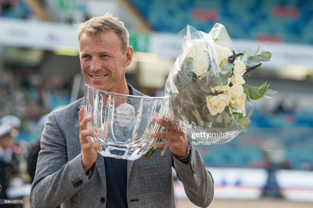 Swedish horse jumper and Olympic silver medalist at the 2016 Rio Olympics, Peder Fredericson receives the Järing Priset, the Swedish award for excellence in sportsmanship during the opening ceremony of the 2017 Longines FEI European Championships at Ullevis stadium in Gothenburg, Sweden on August 21 2017