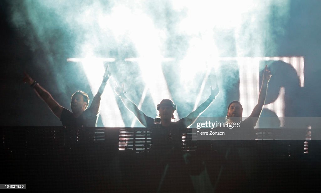 Swedish House Mafia performing at Ultra Music Festival at Bayfront Park Amphitheater on March 24, 2013 in Miami, Florida.