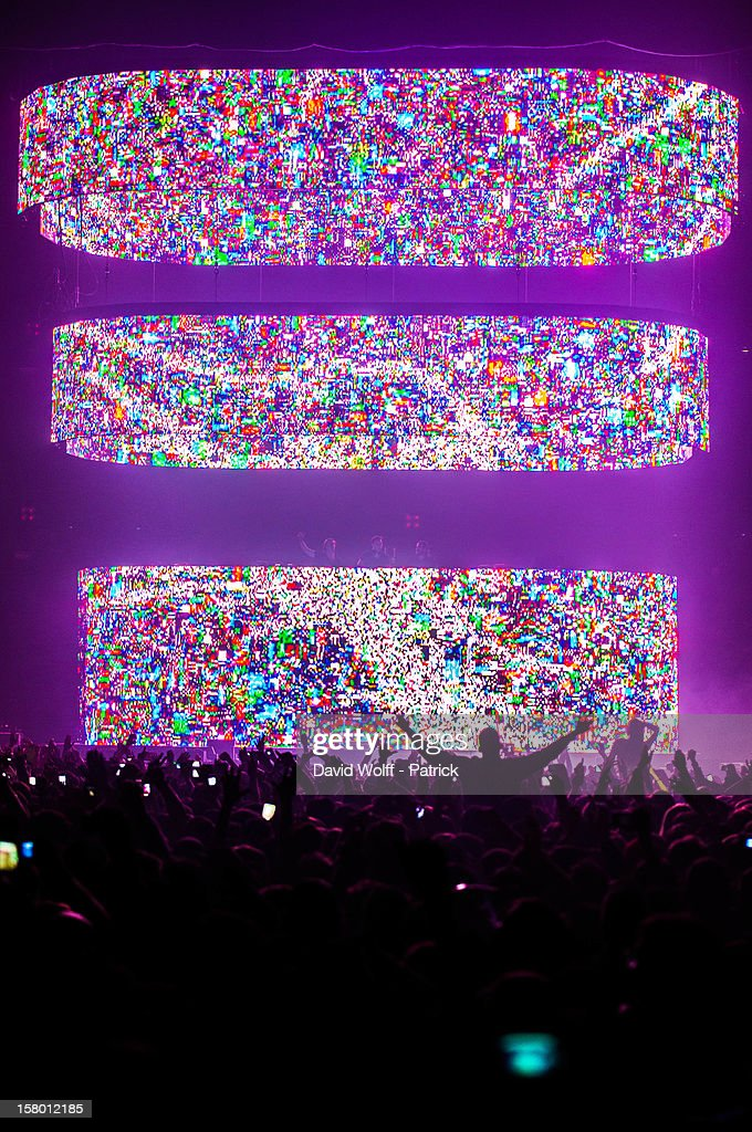 Swedish House Mafia performs at Palais Omnisports de Bercy on December 8, 2012 in Paris, France.