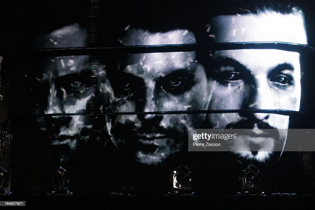 Swedish House Mafia picture from the screen at the Ultra Music Festival at Bayfront Park Amphitheater on March 24, 2013 in Miami, Florida.