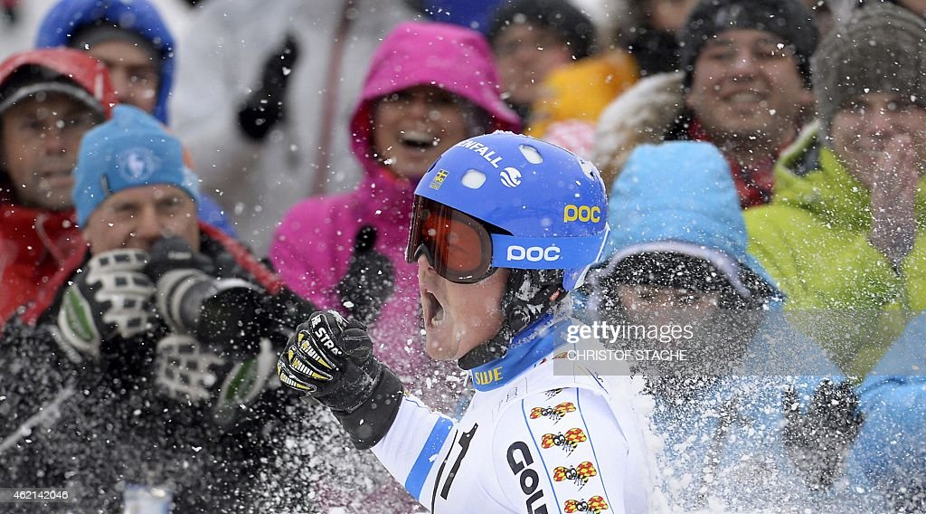 Swedish <a gi-track='captionPersonalityLinkClicked' href=/galleries/search?phrase=Mattias+Hargin&family=editorial&specificpeople=4131687 ng-click='$event.stopPropagation()'>Mattias Hargin</a> celebrates winning the men's slalom competition of the FIS Alpine Skiing World Cup in Kitzbuehel, Austria, on January 25, 2015. AFP PHOTO / CHRISTOF STACHE
