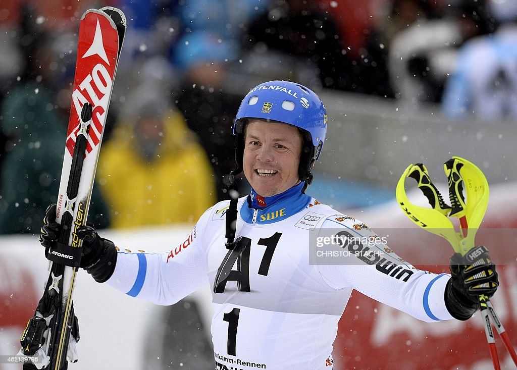 Swedish <a gi-track='captionPersonalityLinkClicked' href=/galleries/search?phrase=Mattias+Hargin&family=editorial&specificpeople=4131687 ng-click='$event.stopPropagation()'>Mattias Hargin</a> reacts in the finish after the men's slalom competition of the FIS Alpine Skiing World Cup in Kitzbuehel, Austria, on January 25, 2015. Swedish <a gi-track='captionPersonalityLinkClicked' href=/galleries/search?phrase=Mattias+Hargin&family=editorial&specificpeople=4131687 ng-click='$event.stopPropagation()'>Mattias Hargin</a> won the competition, Austrian Marcel Hirscher placed second and German Felix Neureuther placed third. AFP PHOTO/CHRISTOF STACHE