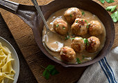 Delicious homemade swedish meatballs with mushroom cream sauce and egg noodle.