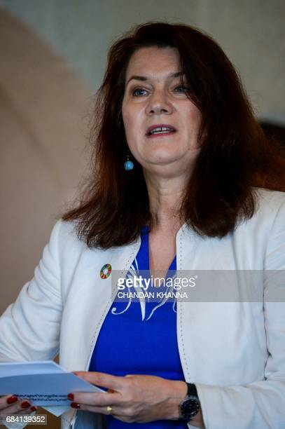 Swedish Minister for Trade and EU Affairs and Foreign Affairs Minister Ann Linde speaks during the 18th Session of IndiaSweden Joint Commission for...