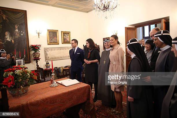 Swedish Minister of Education Anna Ekstrom Princess Victoria of Sweden and Prince Daniel of Sweden visit The Birgitta Sisters in Rome at the convent...