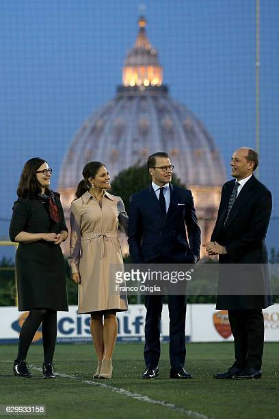Swedish Minister of Education Anna Ekstrom Princess Victoria of Sweden Prince Daniel of Sweden and AS Roma General Manager Mauro Baldissoni pose as...