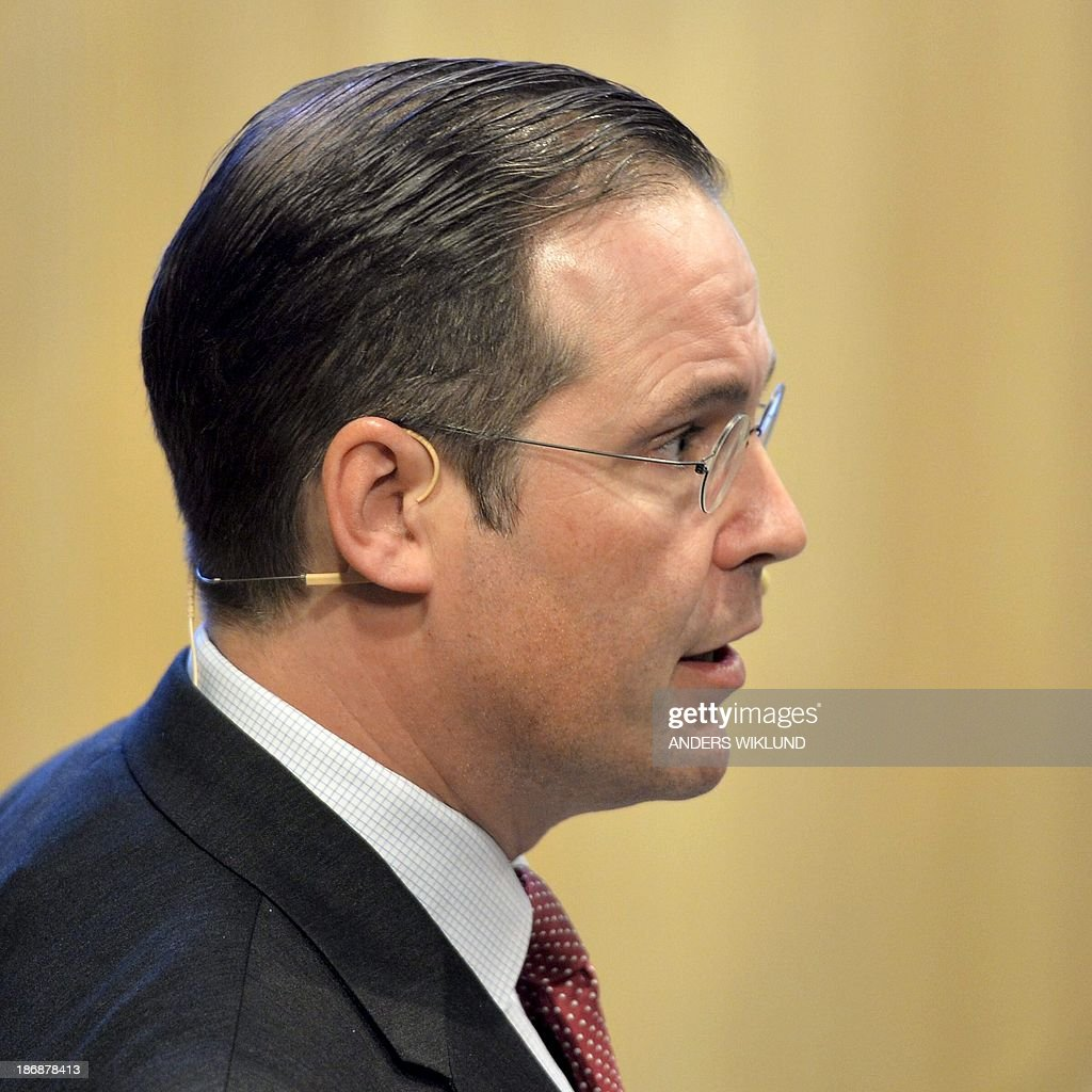 Swedish Minister of Finance Anders Borg is pictured without his trademark ponytail during a seminar in Stockholm, Sweden, on November 4, 2013. Minister Borg made the headlines Monday after showing up with his ponytail cut off. AFP Photo / Anders Wiklund / TT
