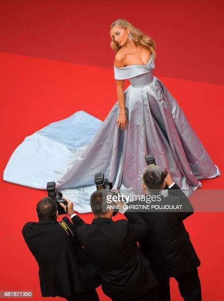 TOPSHOT Swedish model Elsa Hosk poses as she arrives on May 24 2017 for the screening of the film 'The Beguiled' at the 70th edition of the Cannes...