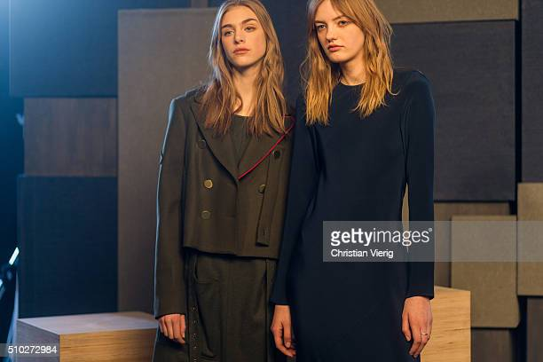 Swedish model Hedvig Palm and Ukrainian model Yulia Musieichuck poses for a lookbook shoot in clothes of the fall winter collection of Tibi seen...