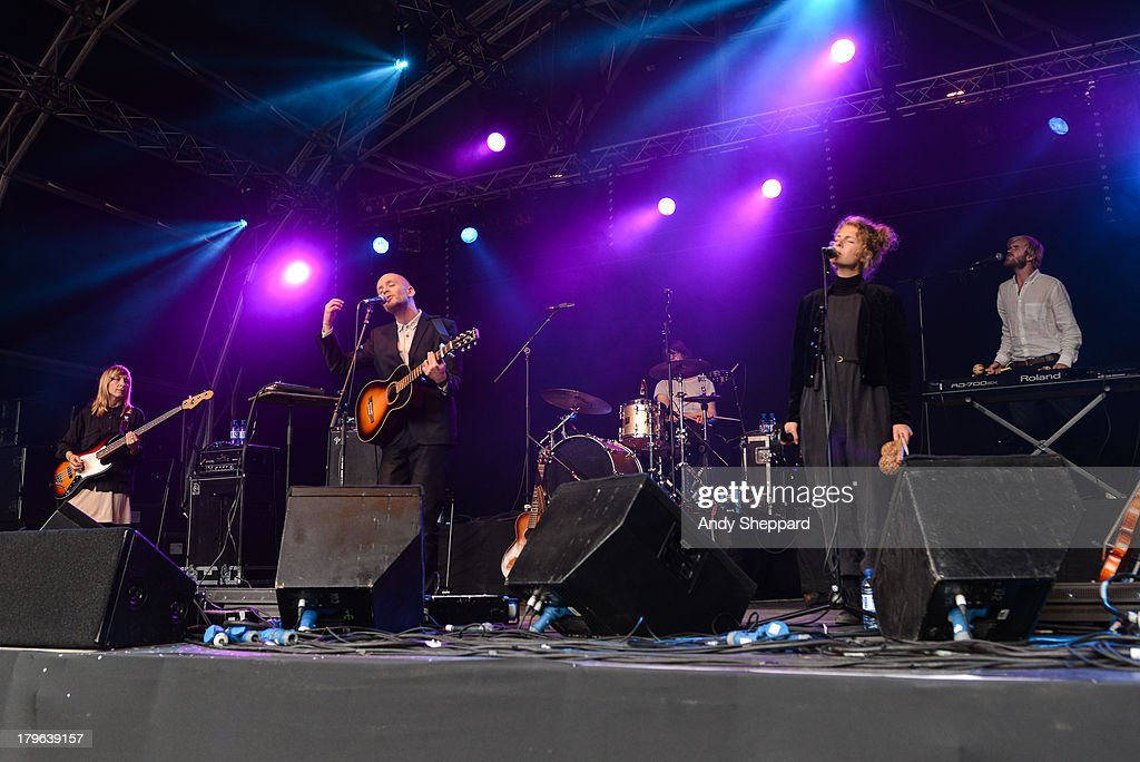 Swedish musician <a gi-track='captionPersonalityLinkClicked' href=/galleries/search?phrase=Jens+Lekman&family=editorial&specificpeople=4022956 ng-click='$event.stopPropagation()'>Jens Lekman</a> (2nd Left) performs on stage on Day 3 of End Of The Road Festival 2013 at Larmer Tree Gardens on September 1, 2013 in Salisbury, England.