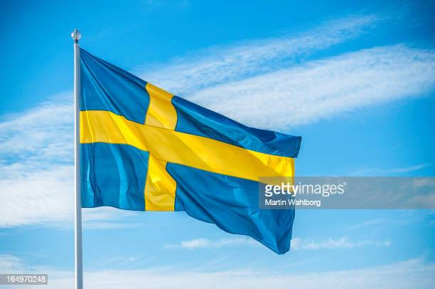 Swedish nation flag in sunlight