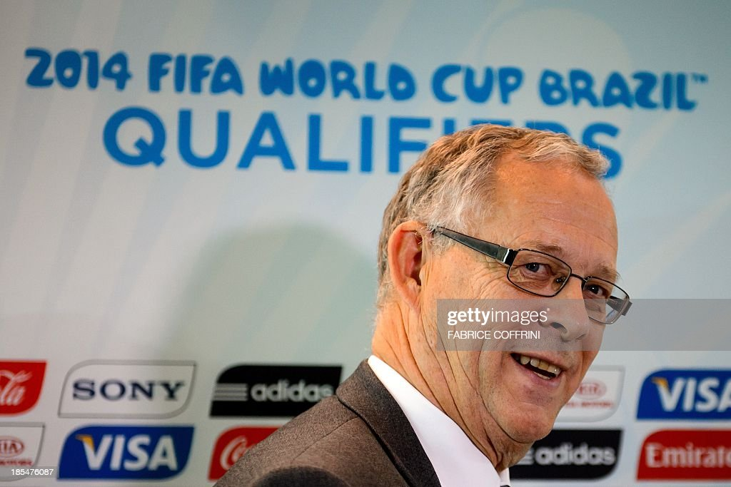 Swedish national football team coach Erik Hamren answers to journalists' questions on October 21, 2013 after attending the draw for the 2014 FIFA World Cup European zone play-off matches held at the headquarters of the football's world governing body in Zurich. The play-off matches are due to be played on November 15 and 19.