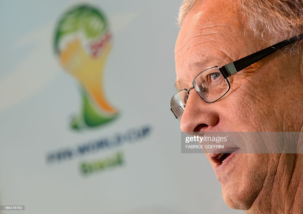 Swedish national football team coach Erik Hamren looks on after the draw of the 2014 FIFA World Cup European zone play-off matches at the headquarters of the football's world governing body on October 21, 2013. The play-off matches are due to be played on November 15 and 19 respectively.
