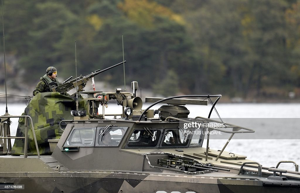 A Swedish Navy fastattack craft patrols in the the Stockholm Archipelago Sweden on October 18 2014 The Swedish armed forces announced a large...