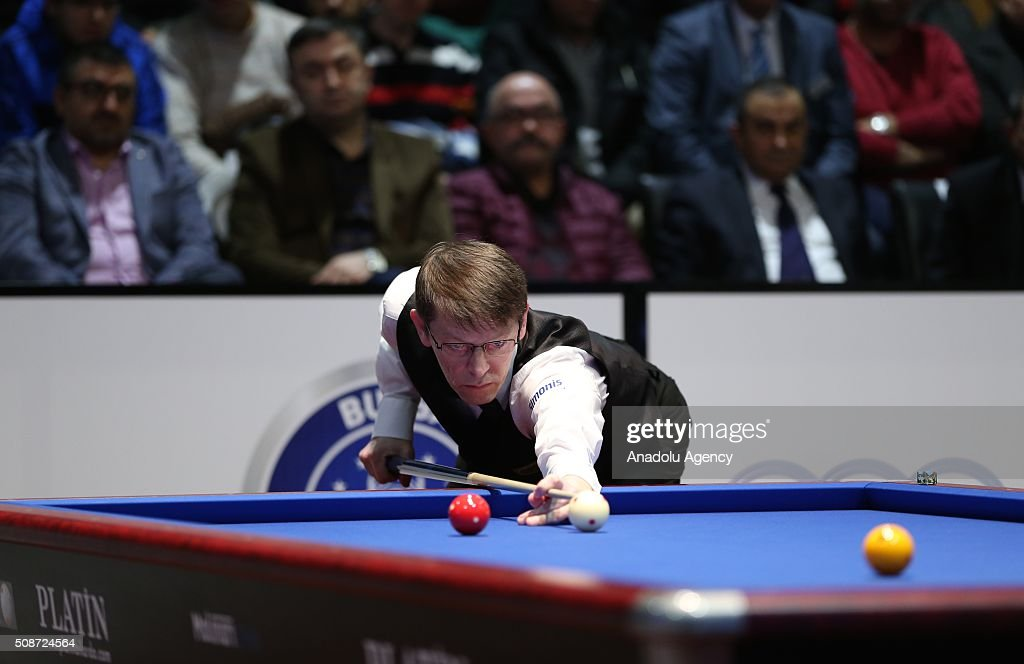 Swedish player Torbjom Blomdahl competes during the Carom Billiards World Cup organized by Union Mondiale de Billard (UMB) and Turkish Billiard Federation in Bursa, Turkey on February 6, 2016.