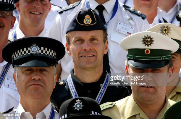 Swedish Police officers join their British and German colleagues in Cologne Germany before England's third match in their World Cup campaign againt...