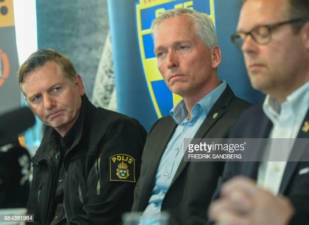 Swedish police spokesman Fredrik Gardare General Secretary at the Swedish Football Federation Hakan Sjoestrand and Mikael Ahlerup Managing Director...